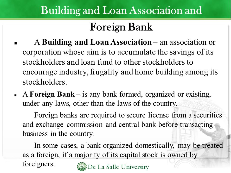 Building and Loan Association and