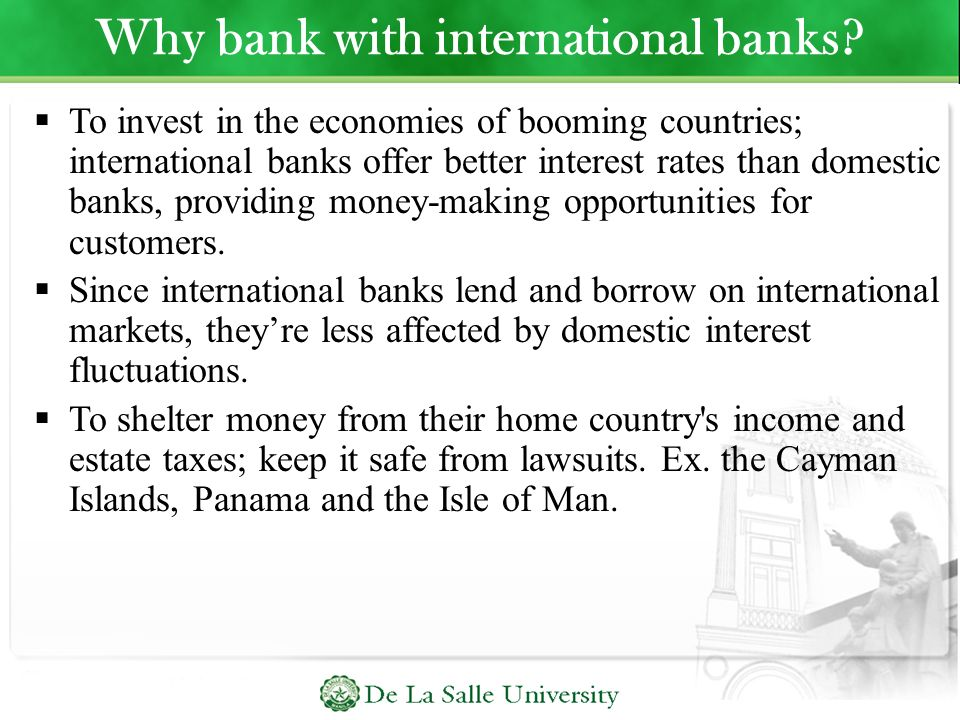 Why bank with international banks