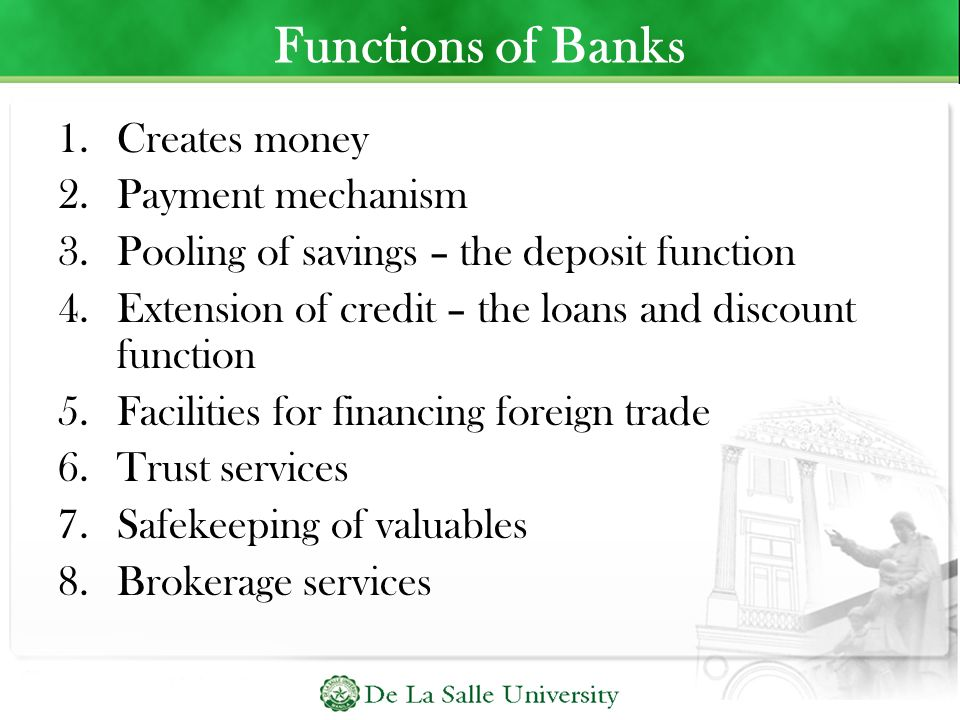 Functions of Banks Creates money Payment mechanism