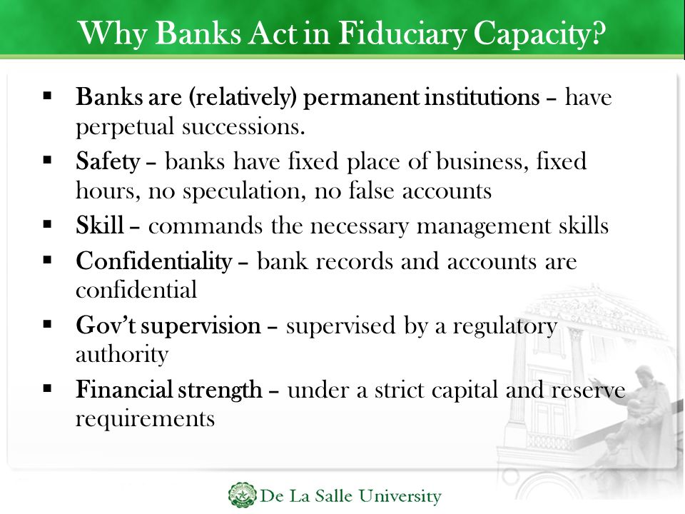 Why Banks Act in Fiduciary Capacity