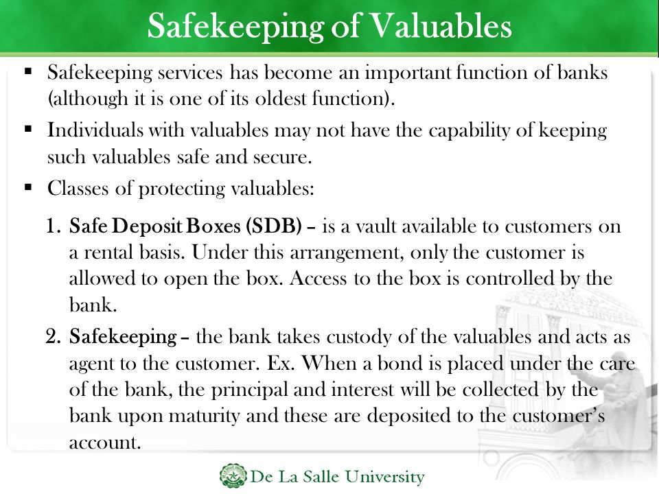 Safekeeping of Valuables