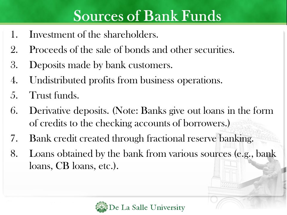 Sources of Bank Funds Investment of the shareholders.
