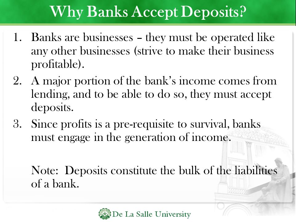 Why Banks Accept Deposits