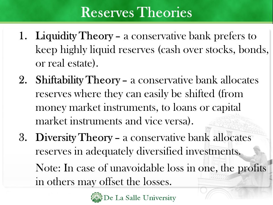 Reserves Theories Liquidity Theory – a conservative bank prefers to keep highly liquid reserves (cash over stocks, bonds, or real estate).