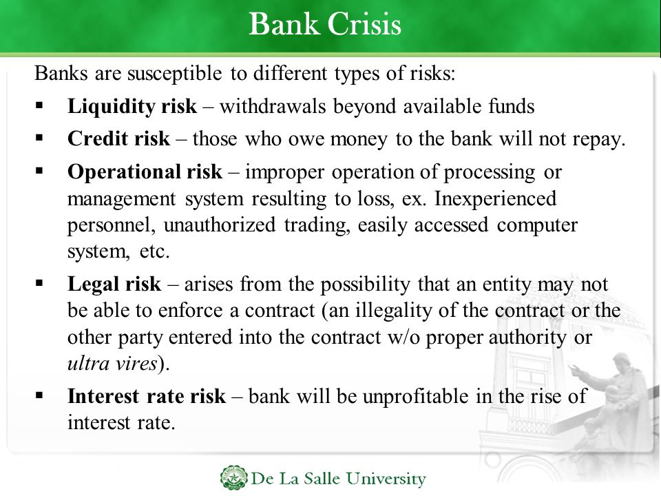 Bank Crisis Banks are susceptible to different types of risks: