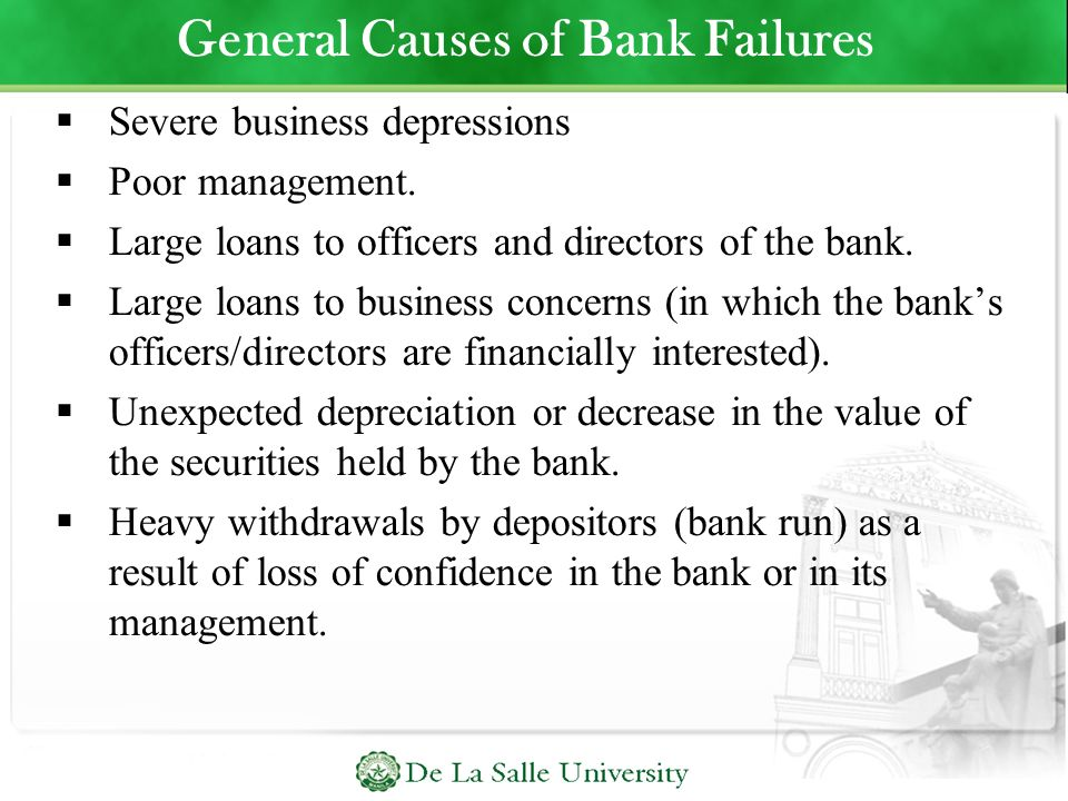 General Causes of Bank Failures
