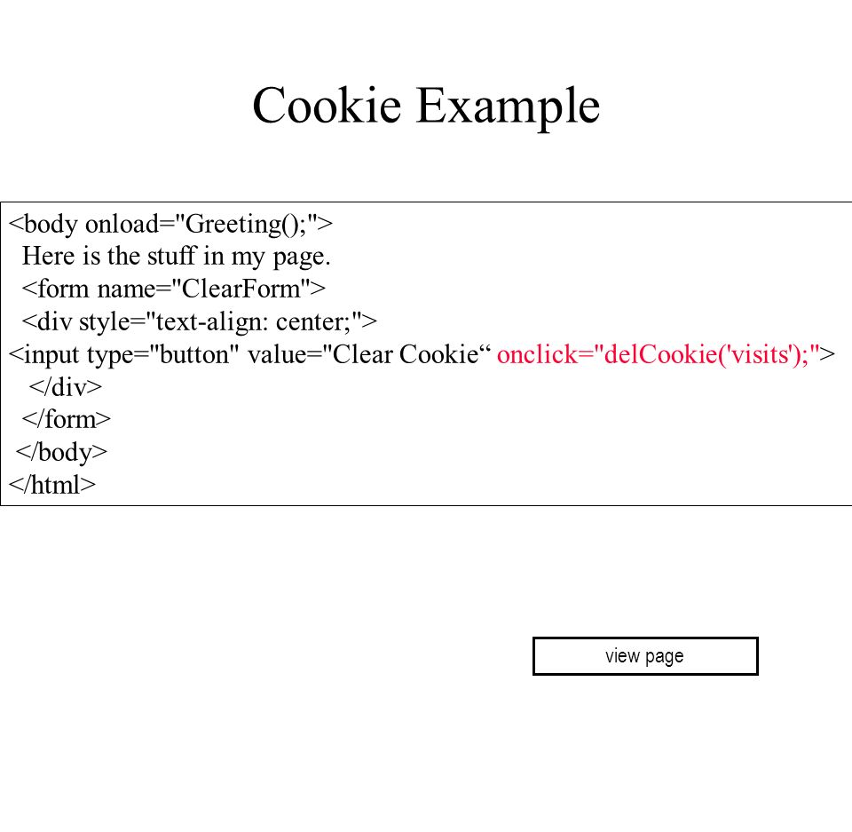 Cookie Example <body onload= Greeting(); >