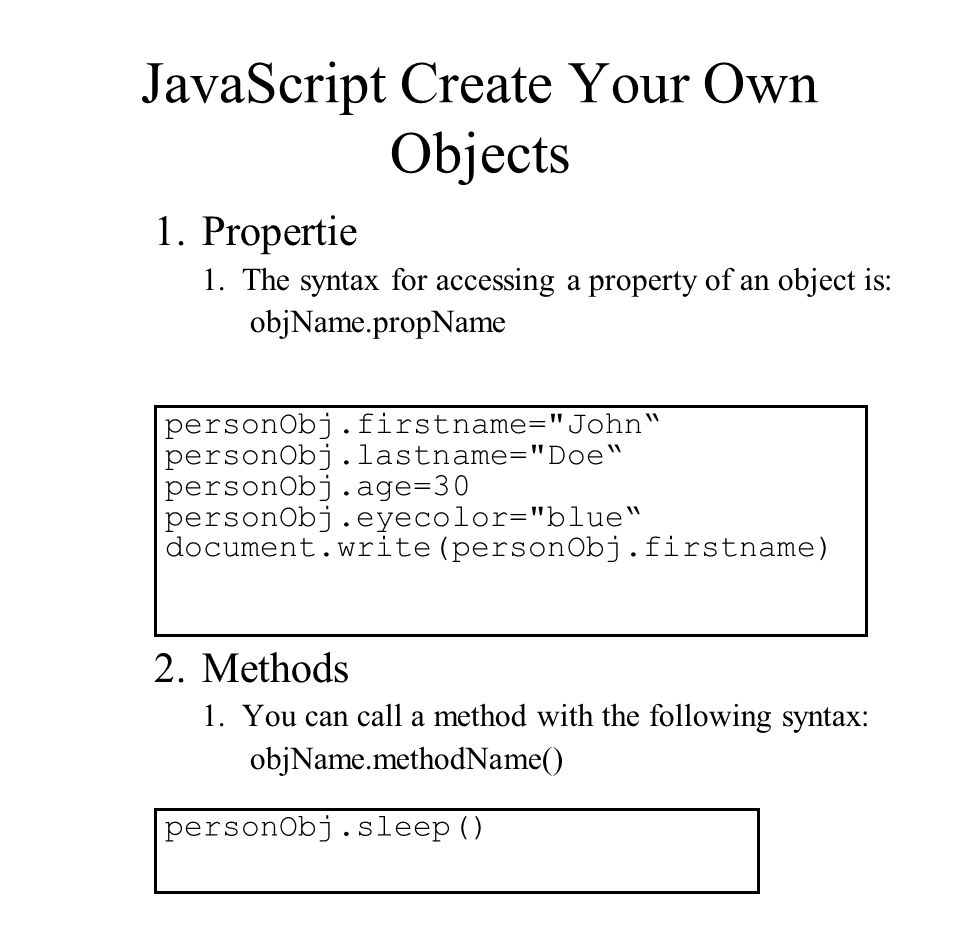 JavaScript Create Your Own Objects