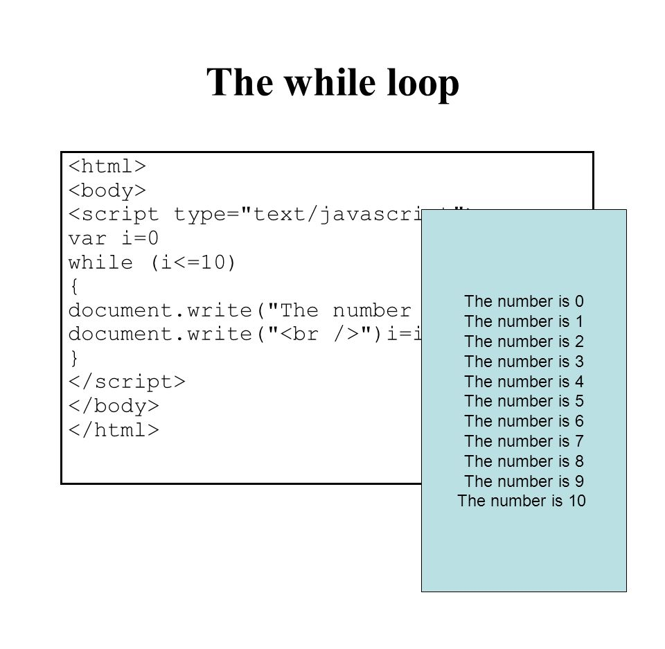 The while loop <html> <body>