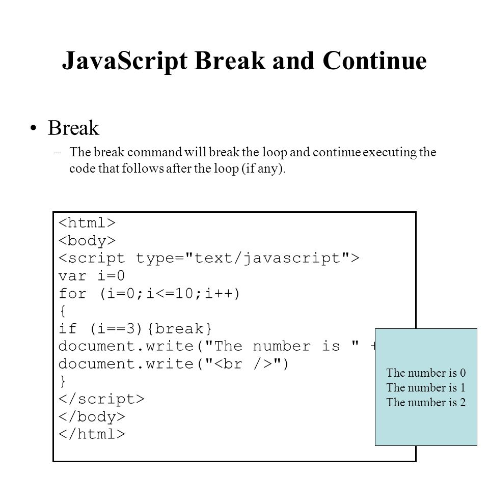 JavaScript Break and Continue