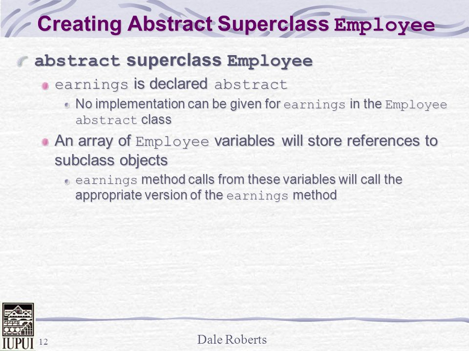 Creating Abstract Superclass Employee
