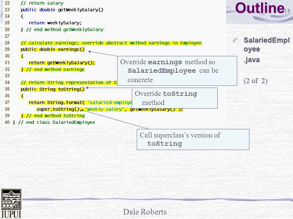 Outline SalariedEmployee .java (2 of 2)