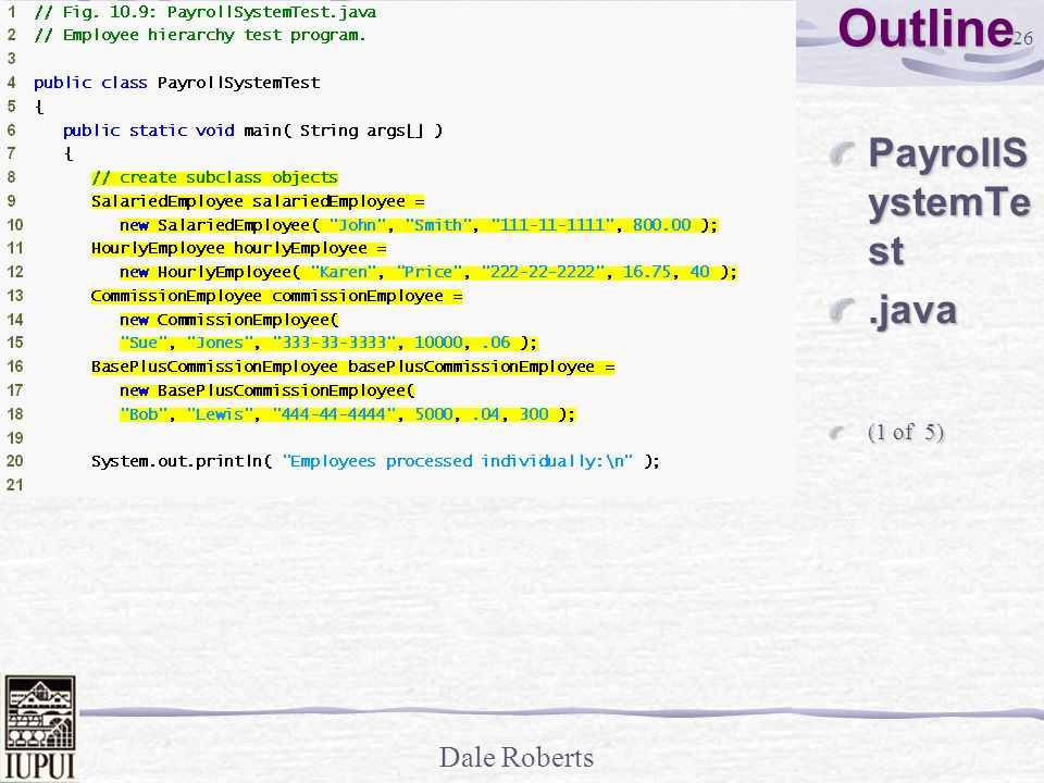 Outline PayrollSystemTest .java (1 of 5)
