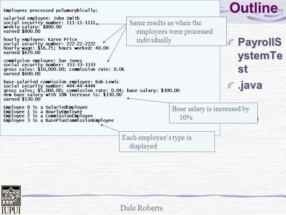 Outline PayrollSystemTest .java