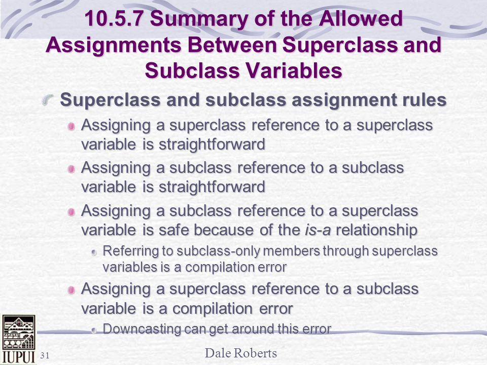 Summary of the Allowed Assignments Between Superclass and Subclass Variables