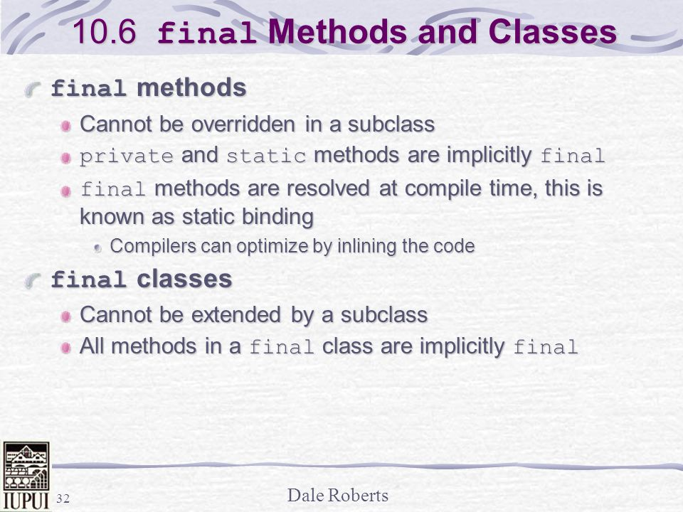 10.6 final Methods and Classes