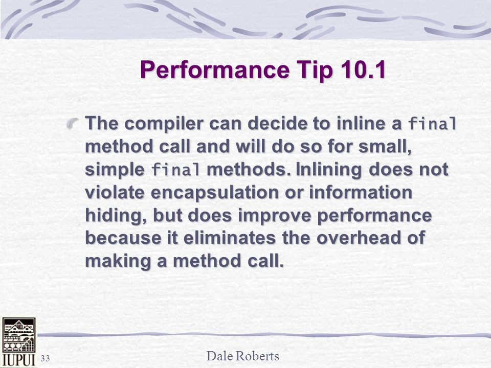 Performance Tip 10.1