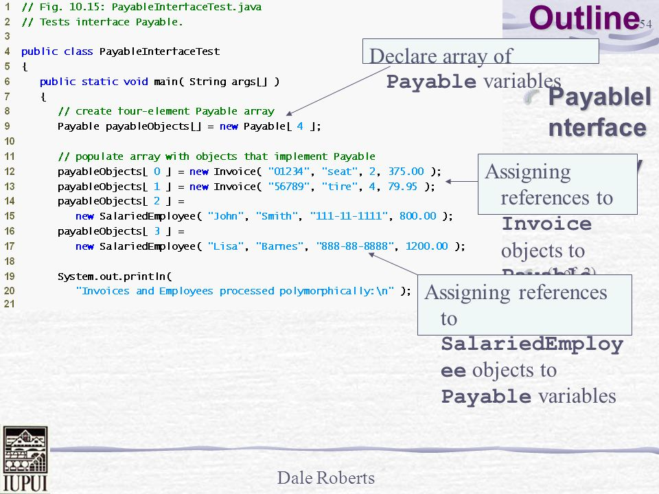 Outline PayableInterface Test.java Declare array of Payable variables