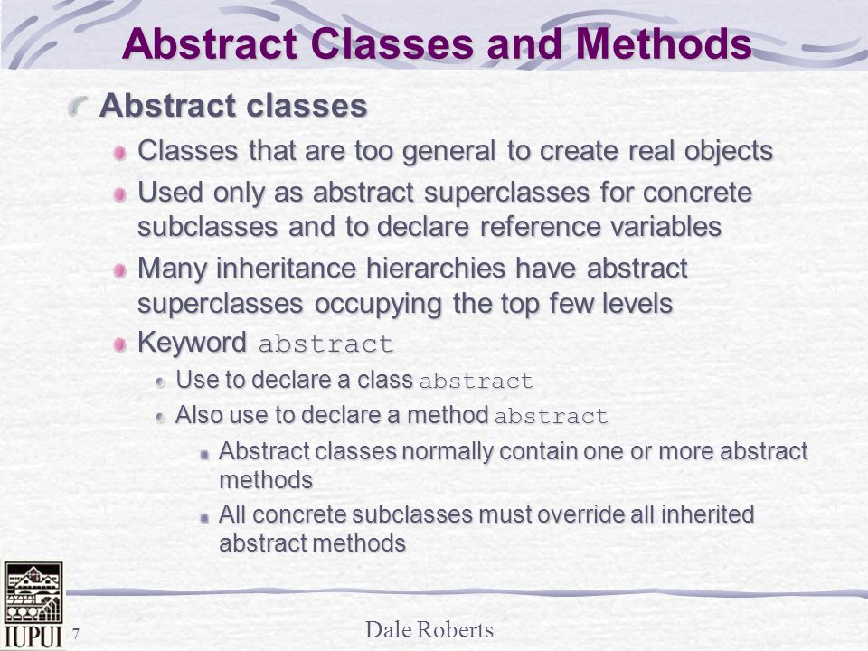 Abstract Classes and Methods