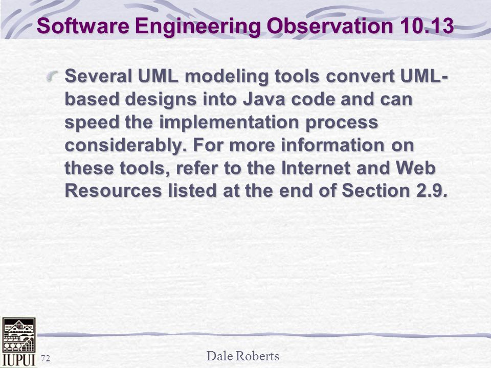 Software Engineering Observation 10.13