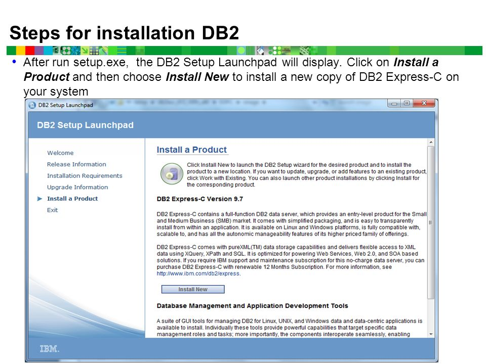 DB2 (Express C Edition) Installation and Using a Database