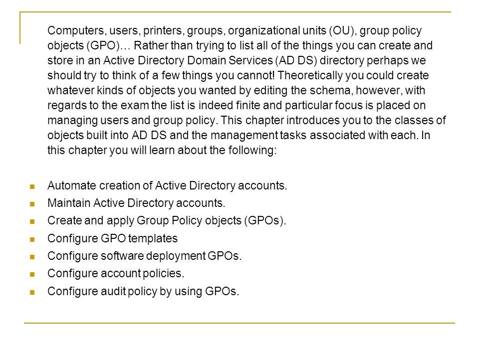 Chapter 4: Creating and Maintaining Active Directory Objects