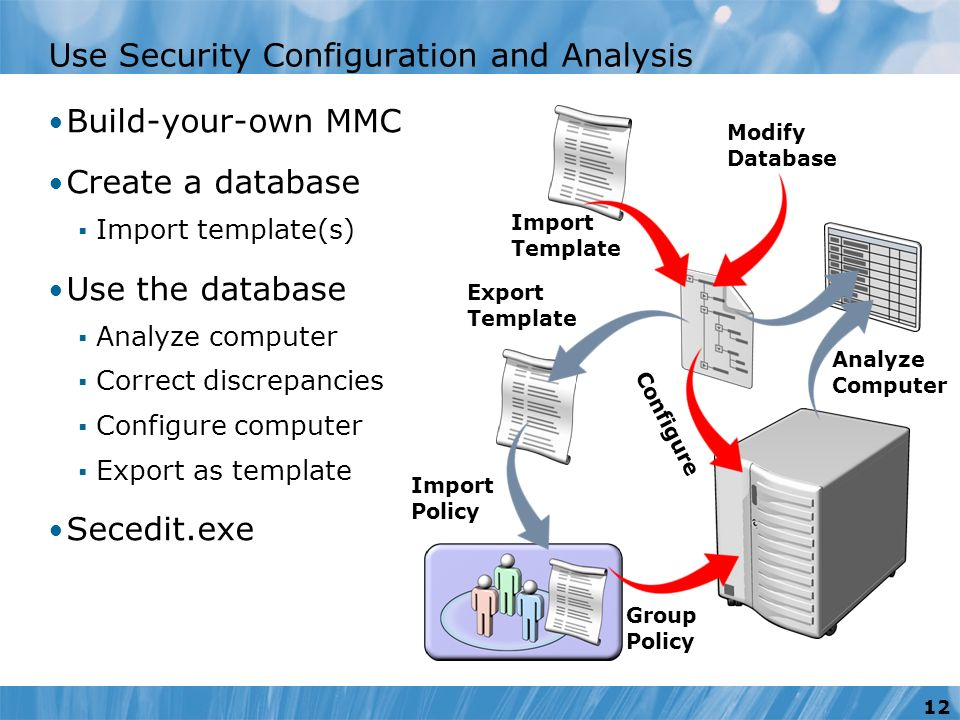 export template analyze computer configure import policy group policy use security configuration and analysis