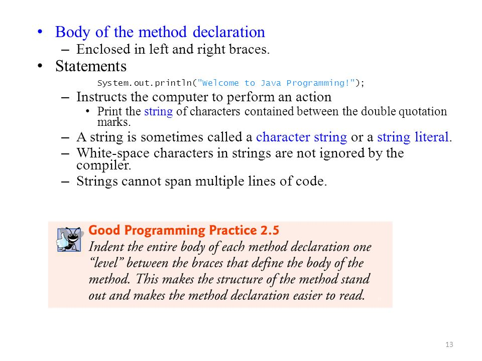 Body of the method declaration Statements