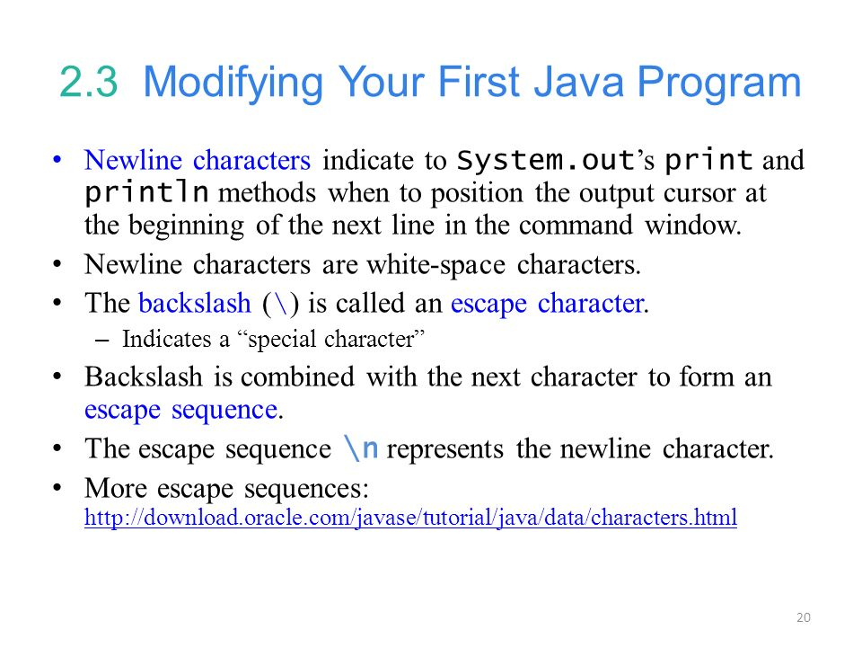 2.3 Modifying Your First Java Program
