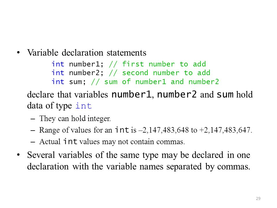 Variable declaration statements