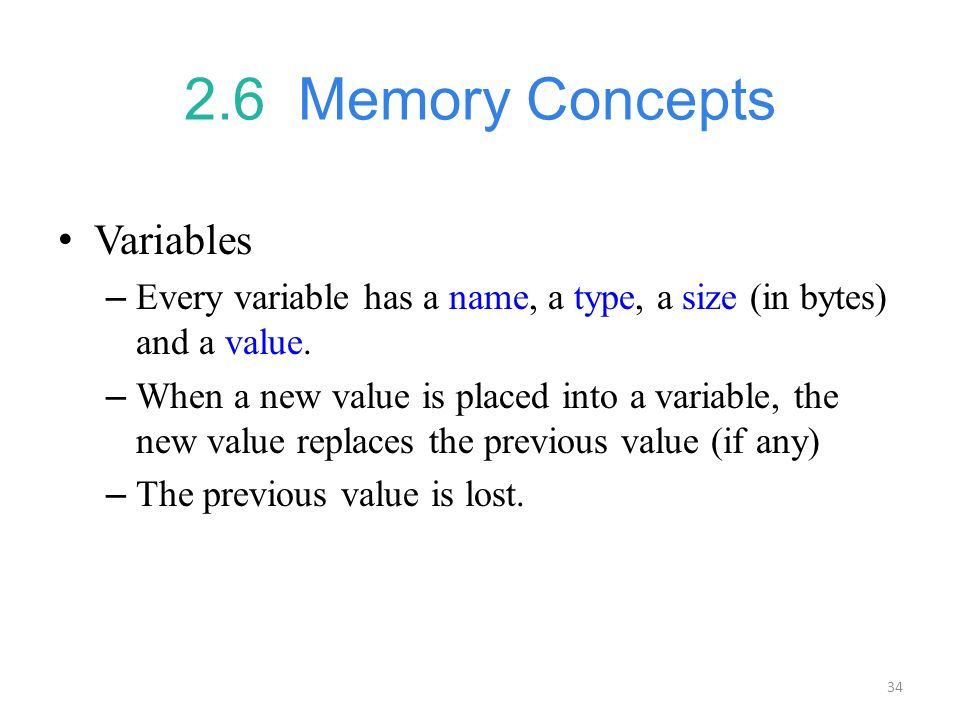 2.6 Memory Concepts Variables