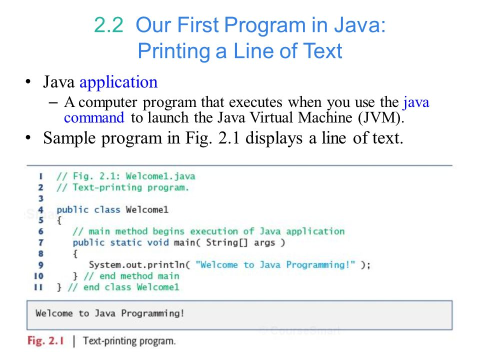 2.2 Our First Program in Java: Printing a Line of Text