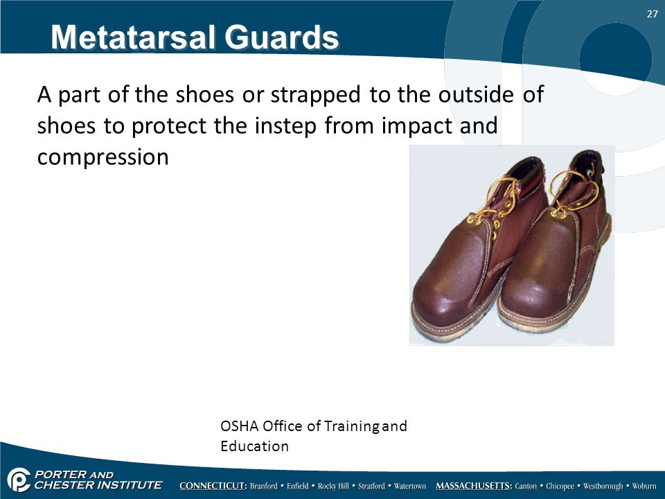 Metatarsal Guards A part of the shoes or strapped to the outside of shoes to protect