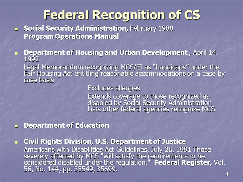 Reasonable Accommodations Extend To >> Chemical Sensitivities Select Federal Policies Programs And