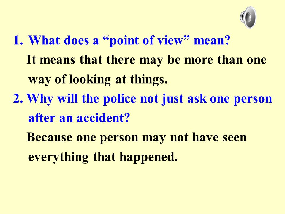 What does a point of view mean