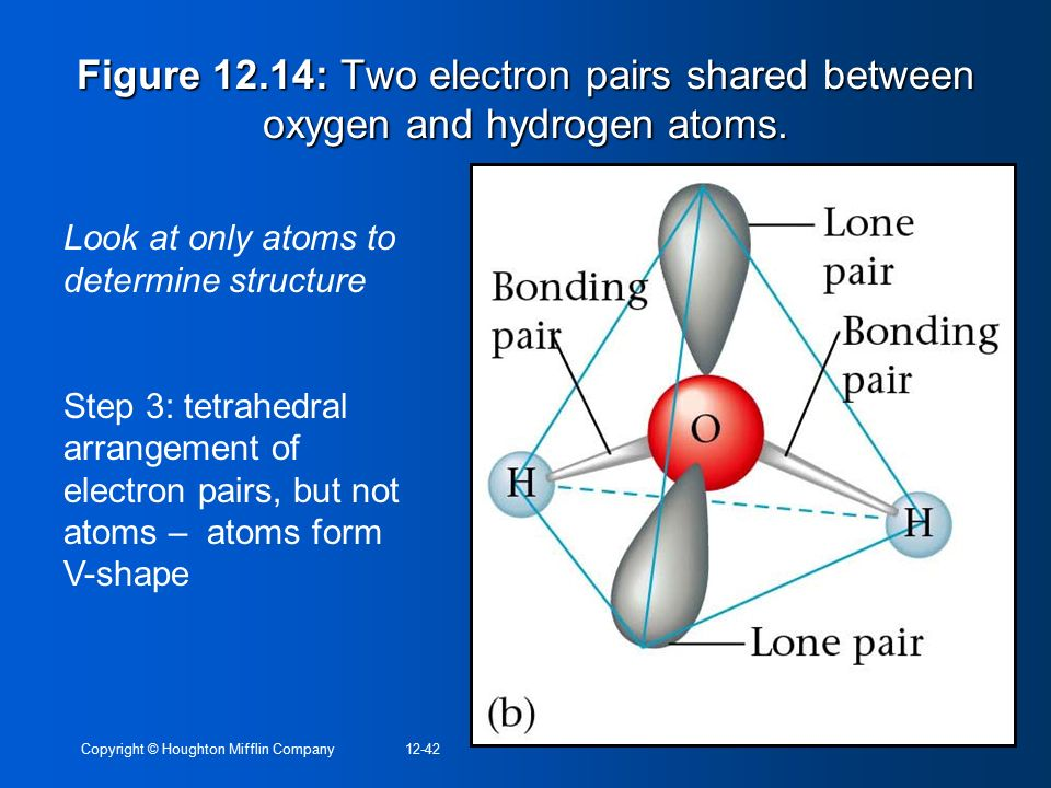 Figure 12.14: Two electron pairs shared between oxygen and hydrogen atoms.