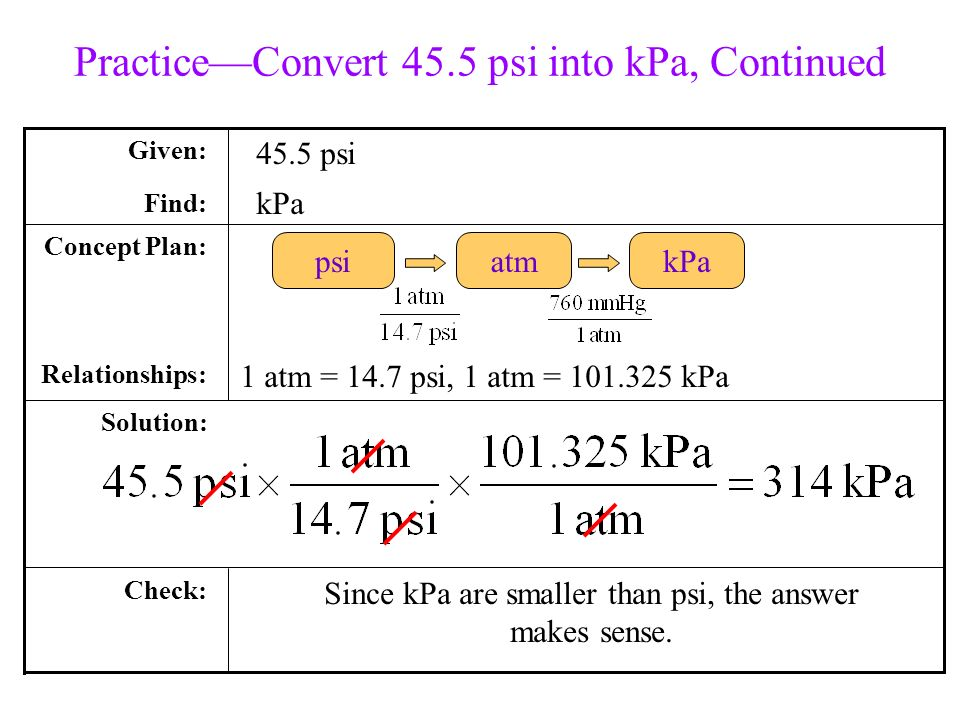 Practice Convert 455 Psi Into KPa Continued