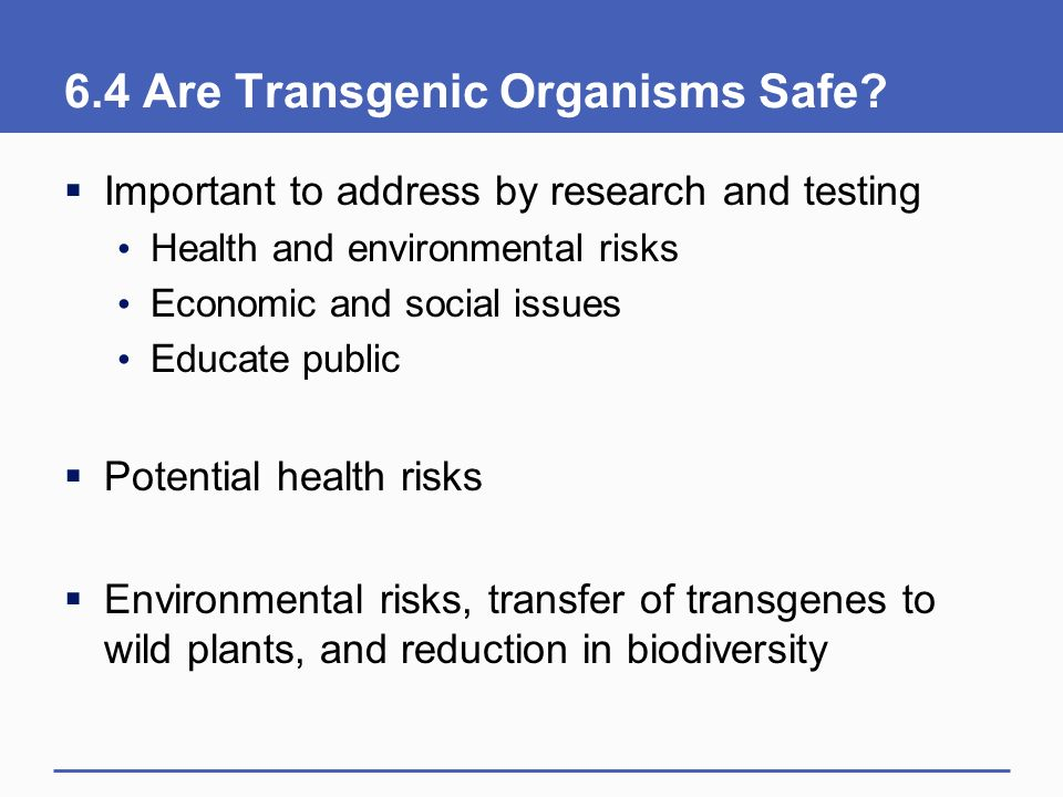 6.4 Are Transgenic Organisms Safe