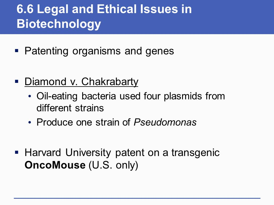 6.6 Legal and Ethical Issues in Biotechnology
