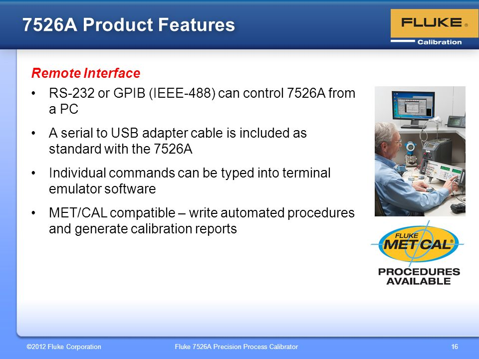 7526A Product Features Remote Interface