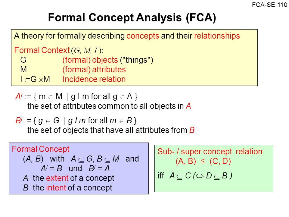 Formal Concept Analysis (FCA)