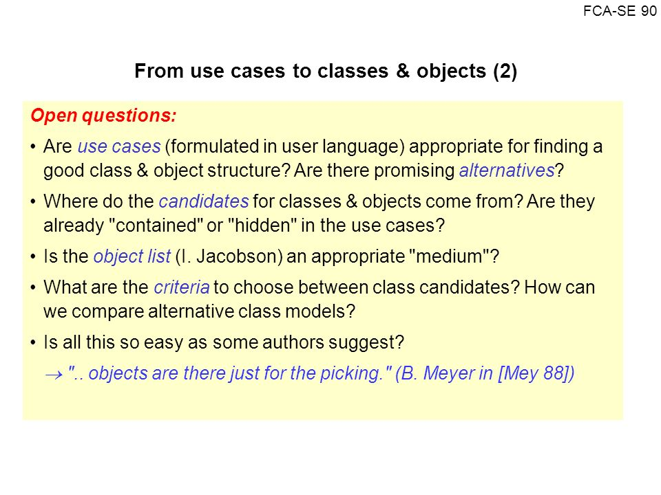 From use cases to classes & objects (2)