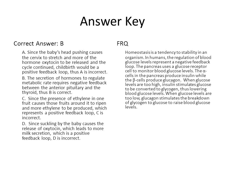 Answer Key Correct Answer: B