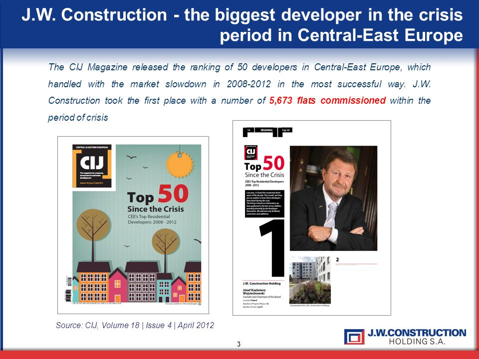 J.W. Construction - the biggest developer in the crisis period in Central-East Europe