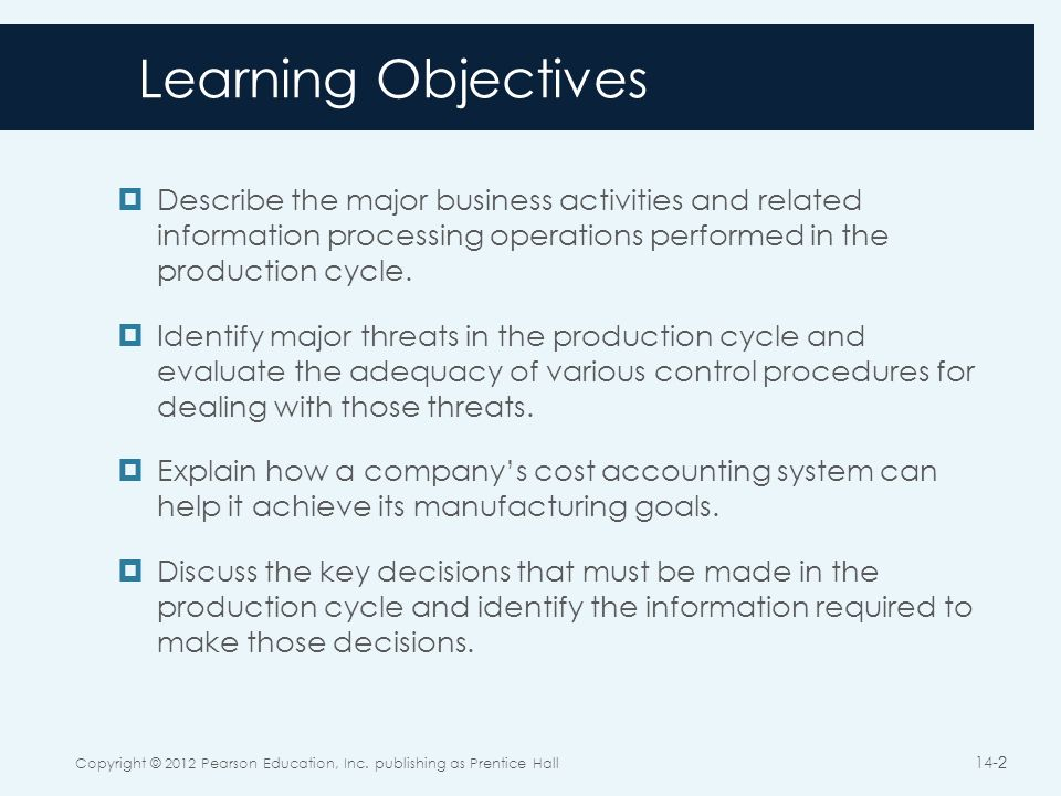 Chapter 14 the production cycle ppt download 2 learning objectives fandeluxe