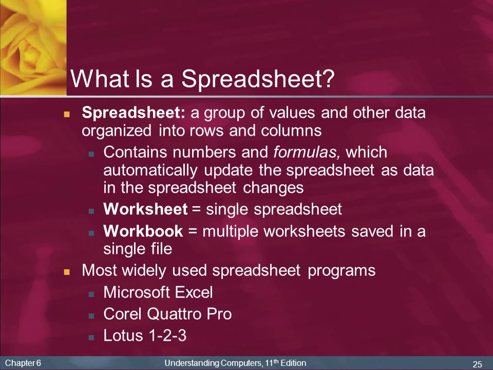 what is a spreadsheet spreadsheet a group of values and other data organized into rows