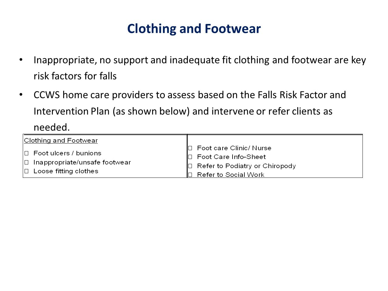 Clothing and Footwear Inappropriate, no support and inadequate fit clothing and footwear are key risk factors for falls.