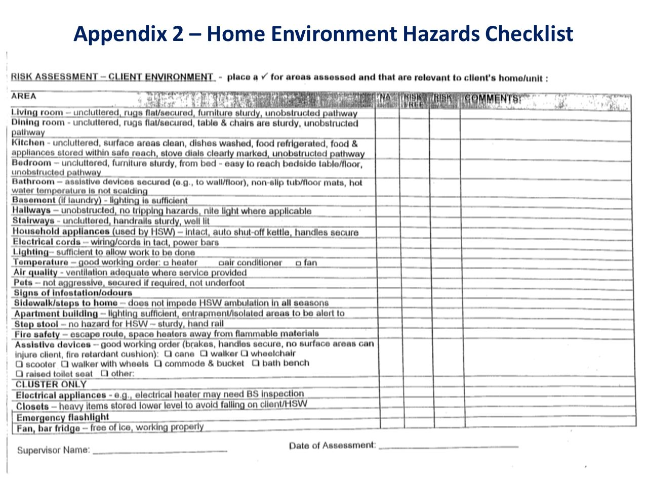 Appendix 2 – Home Environment Hazards Checklist