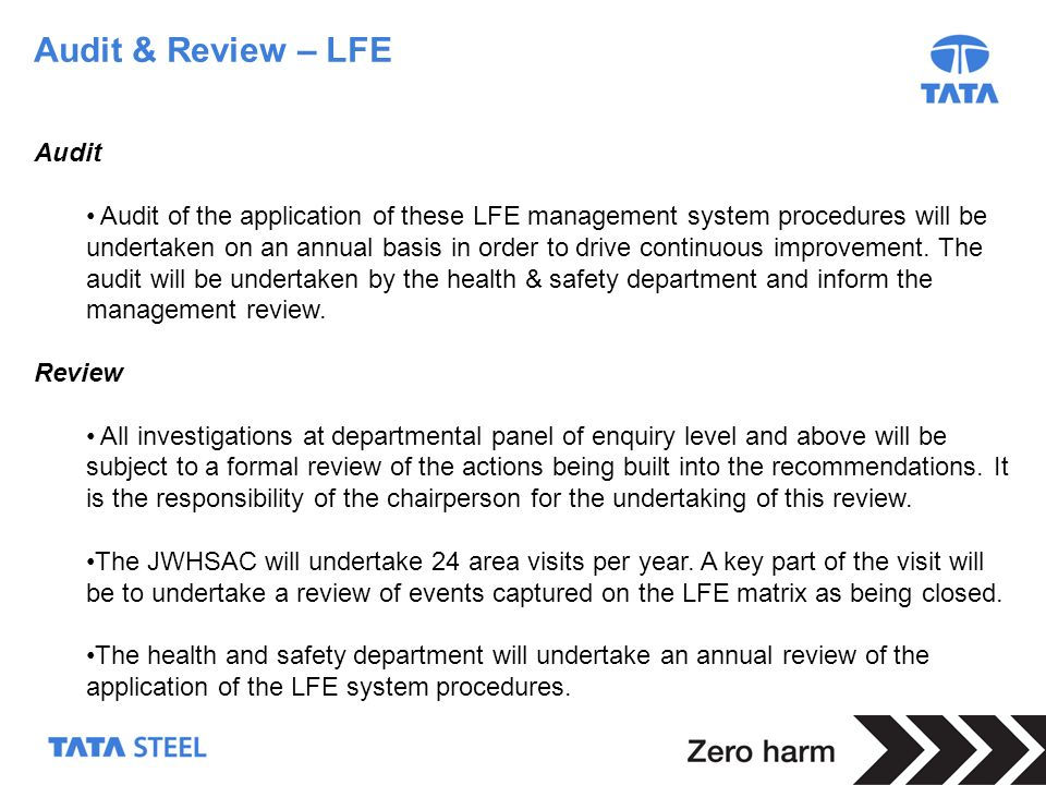 Audit & Review – LFE Audit