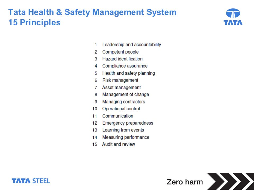 Tata Health & Safety Management System 15 Principles